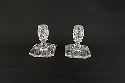 2 Cut Glass Small Table Candlesticks