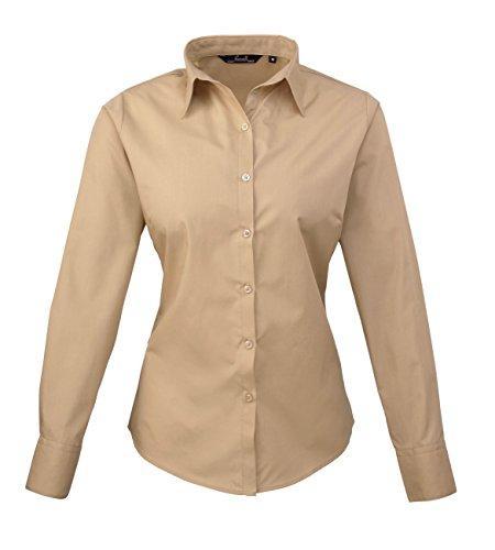 PW300 Ladies Poplin Long Sleeve Shirt (Damenbluse/Langarm) Khaki