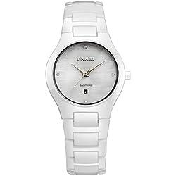 Lady ceramic watch/Waterproof white minimalist watches/ outdoor quartz watch-A
