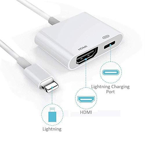 TB® Lighning-auf-HDMI-Adapter, Plug and Play 1080P Audio AV Anschluss, HDTV Projektor Ständer von der neuesten iOS 12 Adapterkabel für Telefon X/8/8 Plus/7/7 Plus/6S/6S Plus/6/6 Plus/5S/SE/5/5c