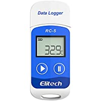 Uonlytech Registradores de Datos Registrador USB Registrador de Temperatura de Temperatura y Humedad Registrador de Temperatura Pantalla LCD Termómetro Resistente al Agua (Azul)