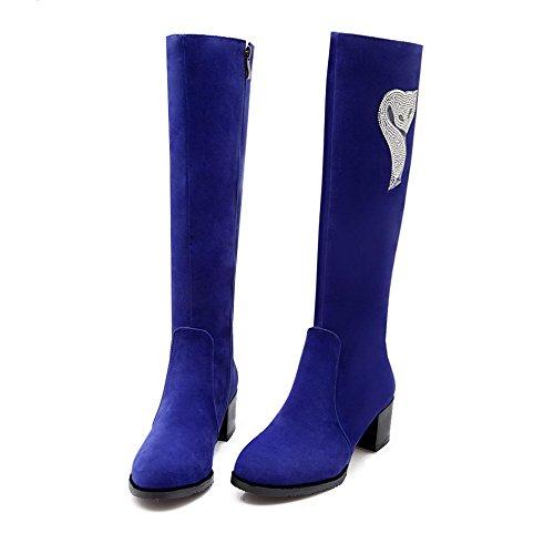 AalarDom Damen Mittler Absatz Rein Rund Zehe Reißverschluss Stiefel Blau