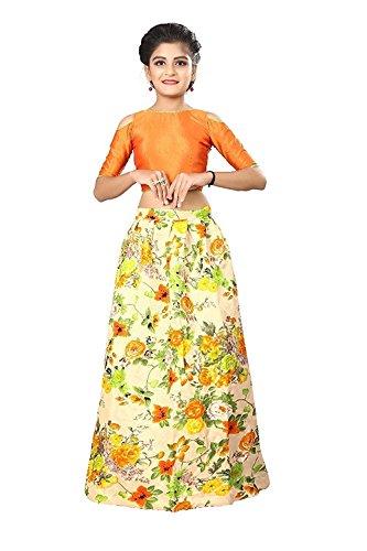 Shoryam Fashion Orange Color Banglory Satin Flower Printed Kids Party Wear Lehenga...