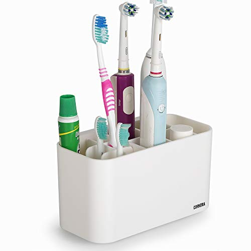 CORNERIA Portaspazzolino - Porta spazzolino da Muro per Il Bagno - Supporto per dentifricio (4 Slot per spazzolino da Denti + 6 testine per spazzolino Elettrico) (Bianco)