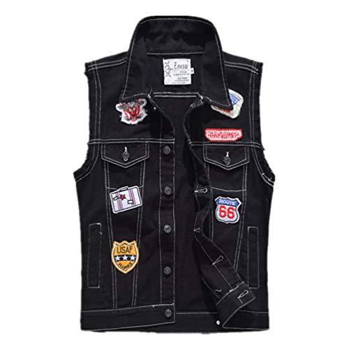 enim Weste Schwarz Patches Weste Plus Size Männlich Slim Fit Ärmellose Jacke Black 4XL ()
