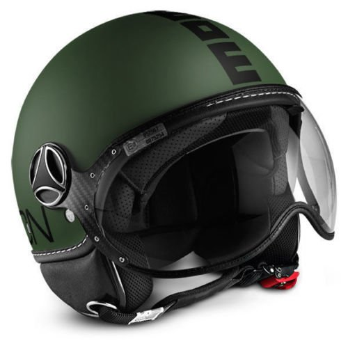 CASCO DEMI JET MOMO DESIGN FIGHTER CLASSIC VERDE MILITARE FROST NERO TG. XL