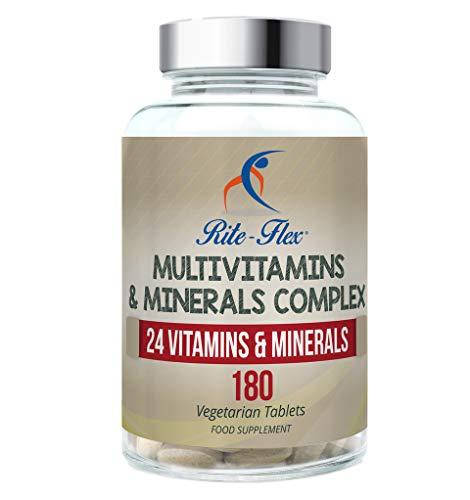 Complejo de multivitaminas y minerales, 180 tabletas vegetarianas Suministro de 6 meses, 24 suplementos de vitaminas y minerales esenciales por Rite-Flex
