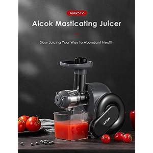 Estrattore di Succo a Freddo, Aicok Estrattore di Frutta e Verduracon Motore Silenzioso, Succo più Nutriente, Funzione Anti-Intasamenti, senza BPA - 2020 -