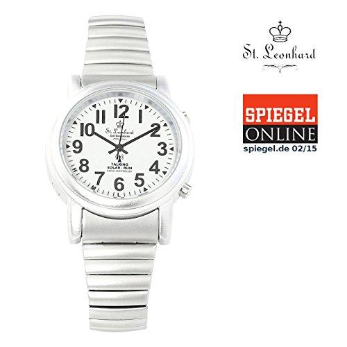 Sprechende Für Uhren Blinde (St. Leonhard  nc7384 – 944 Sprechende Seniorenuhr  mit Funk und Solar, silber)