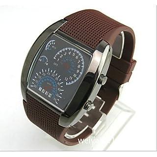 Schöne Uhren, Herren Sportwagen rpm blau&weiße LED-Drehzahl Armbanduhr ( Farbe : Braun )