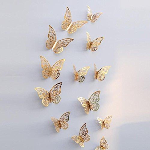 wandaufkleber wandtattoos Ronamick 12 Stücke 3D Hohlwandaufkleber Schmetterling Kühlschrank für Heimtextilien Neu Wandtattoo Wandaufkleber Sticker Wanddeko für Schlafzimmer Wohnzimmer Kinderzimmer (E) (Schwarz Gold Tapeten)