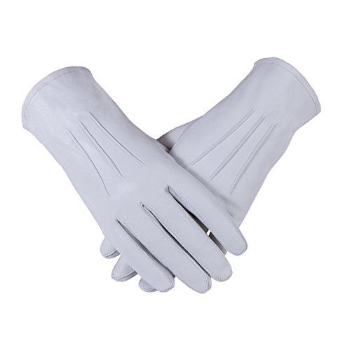 Freimaurer Freimaurer Leder Handschuhe in echten Kid-Leder für Damen, Weiß (Leder Weiss Kid)