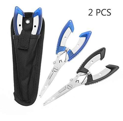 Sunygo 2 Stück Angelzange für Angelhaken-Entferner, schwarz und blau, Edelstahl-Werkzeuge zum Schneiden von Flechtschnur Angelschnur, Fischzange mit gewickeltem Schlüsselband und Gürtelhalter-Scheide
