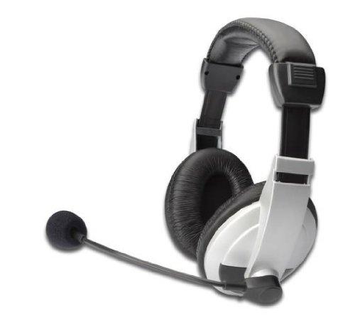 Digitus da12201 cuffie multimedia con microfono, controllo volume, auricolari imbottiti, nero, argento