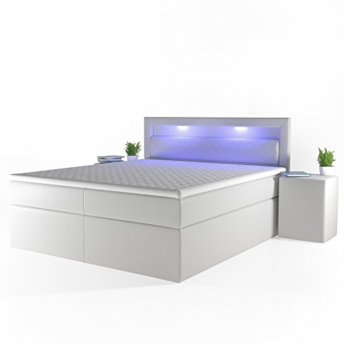 OSKAR Design Boxspringbett LED Komfortschaum-Topper Bonnell-Federkernmatratze Doppelbett Bett Hotelbett Ehebett 180x200 cm weiß