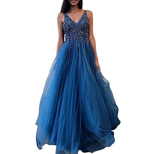 ZLDDE Damen Brautkleider Kleid Sparkly Pailletten Mieder Lange Tüll Partykleid Abendkleid Brautjungfer Abend -