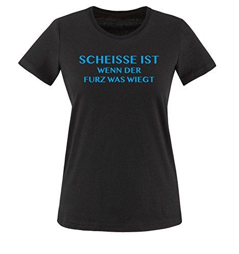 Scheisse ist - Wenn der Furz was wiegt - Damen T-Shirt - Schwarz/Blau Gr. XL - Riechen Fürze