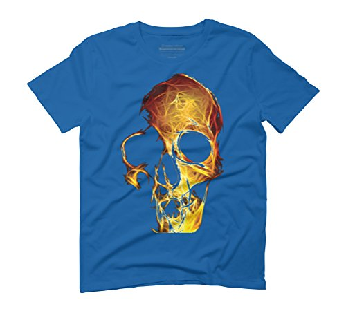 fiery skull Men's Medium Royal Blue Graphic T-Shirt - Design By Humans (T-shirt Skull Blue Flame)