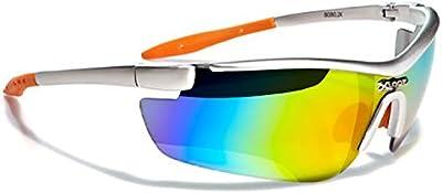 Xloop Gafas de Sol - Deporte - Mtb - Running - Esquí - Snowboard - Moto - Ciclismo - Kitesurf / Mod 3550 Gris Naranja