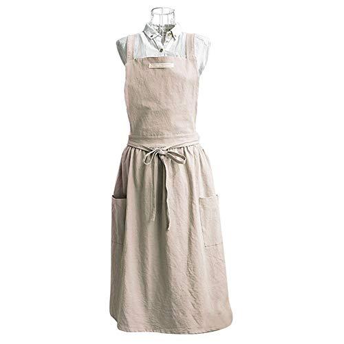 Schürze Stil Kleid (Gereton Komfortable Nordic Schürze Stilvoller Faltenrock Schürze Coffee Shop Schürze - koreanischer Stil Plissiertes Kleid Schürze Coffee Shop Baumwollschürze mit Kreuzgurten und Zwei Taschen)