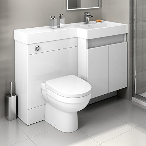 iBathUK 1200mm White Vanity Unit Back to Wall Toilet Bathroom Sink Furniture Set MV2797
