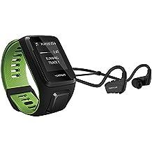 TomTom Runner 3 Music + Casque BT - Montre de Sport GPS - Bracelet Fin Noir/Vert (ref 1RLM.001.11)