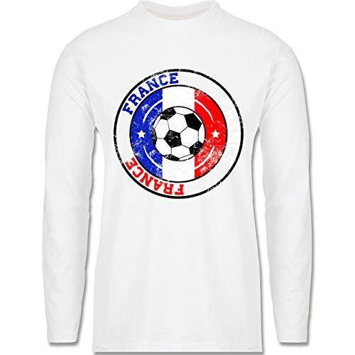 EM 2016 - Frankreich - France Kreis & Fußball Vintage - Longsleeve / langärmeliges T-Shirt für Herren Weiß