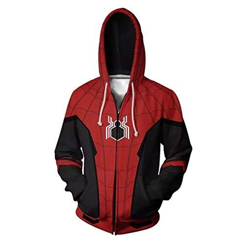 Zhangjianwangluokeji Weit Weg von zu Hause Spider Peter Parker Kostüm Halloween-Spiel Cosplay Zip Up Hoodie Jacke (3XL, Stil 5) (Hoodie Halloween-kostüm)