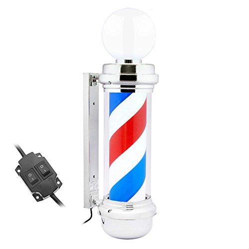Poste de barbero luminoso y giratorio con lámpara superior para peluquerías de 230 x 845 mm de PrimeMatik