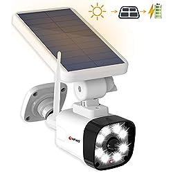 HFWS-S1-W | Projecteur led solaire | Extérieur | 8 Led, 800Lumens, batterie 2600mAh rechargeable | Camera factice | avec detecteur de mouvement | IP66 Etanche