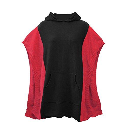 Gelegentlich Made Kapuzen Poncho, schwarz/rot