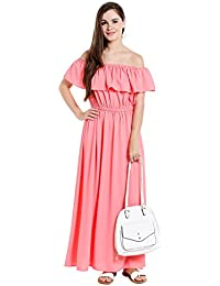 Ishin Rayon Crepe Peach Solid Party Wear Casual Daily Wear New Collection Latest Design Trendy Women's Western Wear Maxi Dress