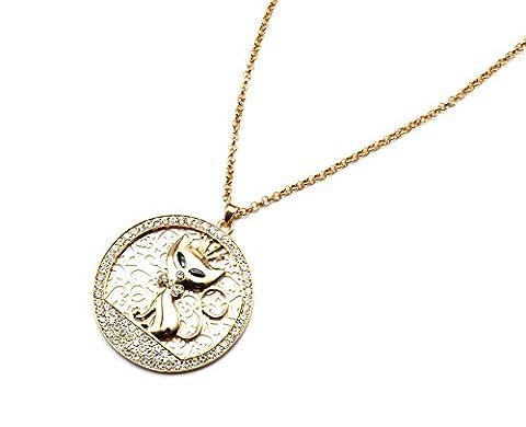 cl1231e Halskette Anhänger Kreis Durchbrochenes Katze Metall und Contour Strass Gold–Modus Fantasie