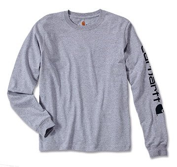 Logo langarm Shirt 100% BW EK231, Farbe:hellgrau;Größe:XXL (Carhartt Braun Langarm-shirt)