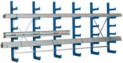 Kragarmregal, Anbaufeld einseitig, 5 Ebenen, Nutzt iefe 500 mm, BxTxH 1000x620x2000 mm