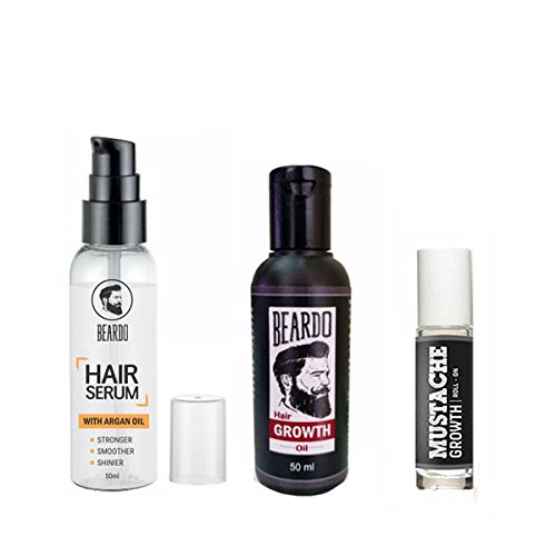 BEARDO Combo of Beard And Hair Growth Oil 50Ml , Mustache Growth Roll On, Hair Serum With Argan Oil 50Ml