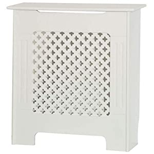 Home Discount Oxford Radiator Cover Traditional White Painted MDF Cabinet, Small