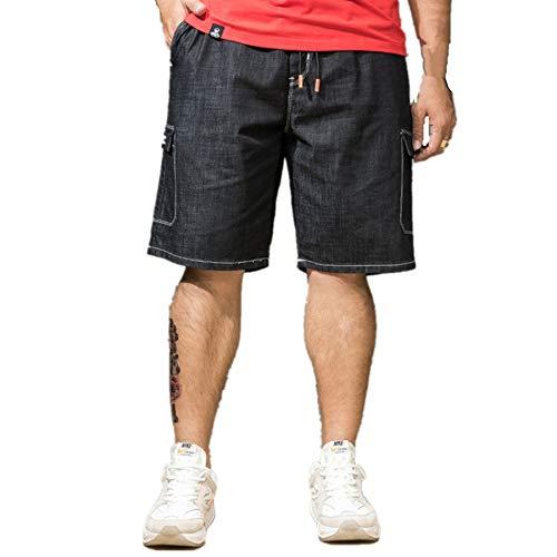 Jeans Shorts Herren Kurze Denim Hose Mit Destroyed Optik Aus Stretch Material Sommer Slim Fit Vintage Bermudas Cargohose Sweatpants Baumwolle Qmber elastische Taille Größe fünf Overalls(Black,S) (Pailletten-shorts High-waisted Silber)