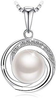 عقد مع قلادة متدلية من الفضة الاسترليني عيار 925 مع عناصر سواروفسكي للنساء من مجوهرات جيه روزيه