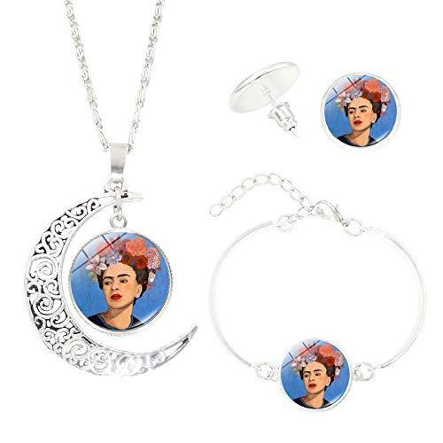 upnanren Frida Caro Time Gem Lady Alloy Europa y América Joyería Vintage Regalo de Tres Piezas Regalo Regalo Collar Pendiente Pulsera