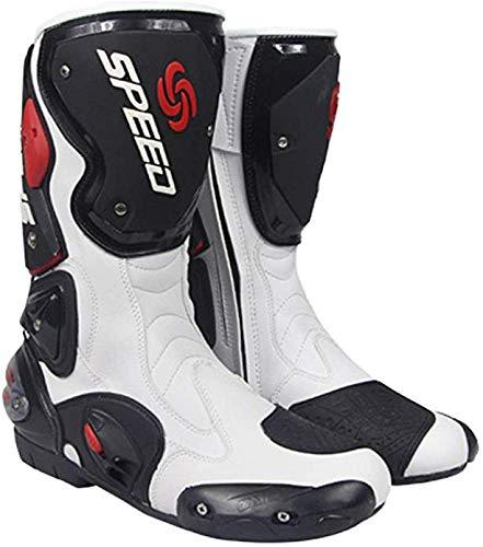 Stivali Stivali da Moto da Corsa degli Uomini di Boots Blindata corazzatura Corse Locomotiva Outdoor Sports per Le Scarpe da Trekking off Road,Bianca,42