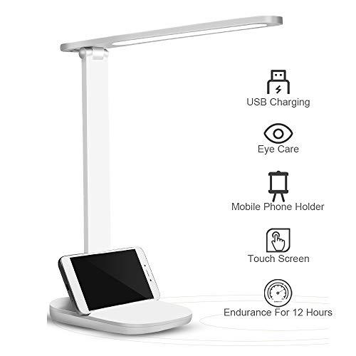 LED Schreibtischlampe, Dimmbare Schreibtischlampen mit USB-Ladeanschluss, Augenschutz Tischleuchte,Touchfeldbedienung Büro Tischleuchte, Energieeffiziente Leselicht