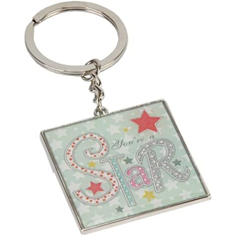 You re a Star-Portachiavi, motivo: Laura Darrington patchwork collection con stelle in scatola regalo, colori