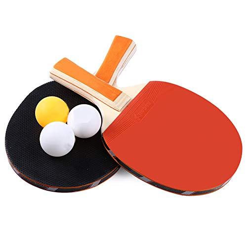 mdxmai Anti Slip Mango Largo Mesa de Ping Pong Raqueta Durable Pingpong Bat portátil 2 murciélagos y 3 Pelotas de Ping-Pong Duradero Conjunto de paletas de Accesorios Deportes-1 Juego
