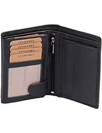 Portefeuille OTARIO, cuir véritable, noir 12,5x9x3cm