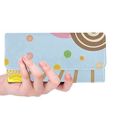 rdefinierte abstrakte Lutscher auf blauen Frauen Trifold Brieftasche Lange Geldbörse Kreditkarteninhaber Fall Handtasche ()