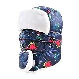 Dinokids Unisex-Baby Cartoon-Dinosaurier-Ski Hut-Winter-Winddichtes Mütze Starke warme Gesichtsmaske Kopf 56cm for 5-15t Marine