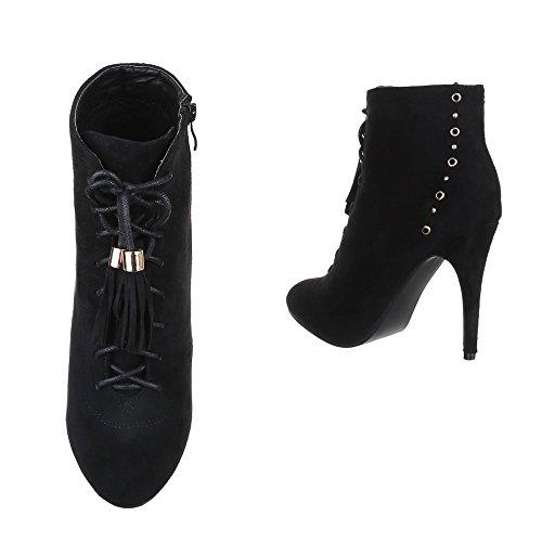 High Heel Stiefeletten Damen Schuhe Schlupfstiefel Pfennig-/Stilettoabsatz Schnürer Reißverschluss Ital-Design Stiefeletten Schwarz