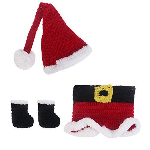 Glaray Weiche handgemachte Kindertag Weihnachtsmann Kost¨¹m H?kelarbeit-Knit Baby-Fotografie (Milch Kleinkind Kostüm Für)