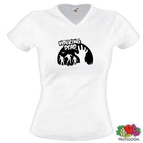 world-of-shirt Damen T-Shirt Zombie Hand walking dead Weiß